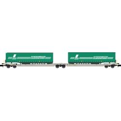 Twin car Sdggmrs AAE Cargo HUPAC intermodal + 2 remorques LANNUTTI – Ep.V-VI