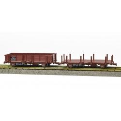 Set de 2 Wagonnets de DRAISINE (Plat à ranchers + Tombereau) Ep.IV