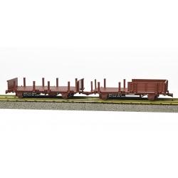 Set de 2 Wagonnets de DRAISINE (Plat à ridelles et ranchers + Plat à ranchers) Ep.IV