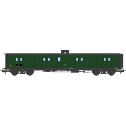 Fourgon à Bogie Ep.III SNCF Vert 306 Toit Noir Bout Vert Guérite sans échelle Petits Marchepieds