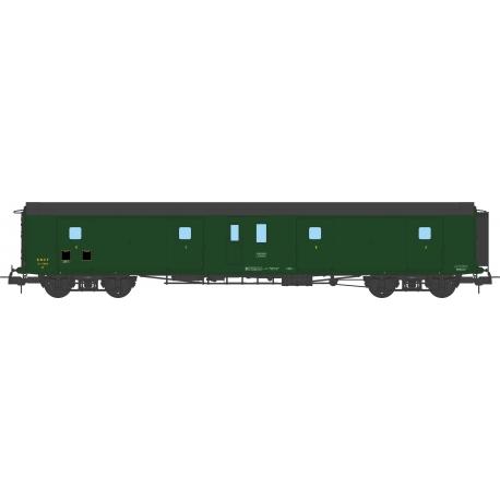 Fourgon à Bogie Métallisé Ep.III SNCF Toit Noir Bout Vert (Feux Fonctionnels)