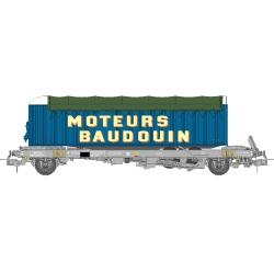 "WAGON KANGOUROU Ep.III + Remorque ""MOTEURS BAUDOIN"" bâche double essieux"